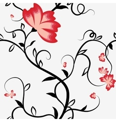 Seamless pattern with intertwining flowers vector image