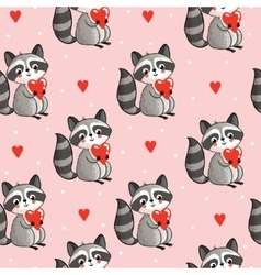 seamless with cute raccoon vector image