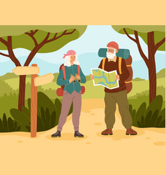 senior couple vacation active elder people vector image