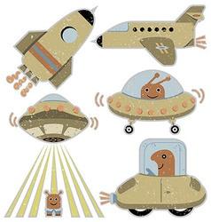 Set cute spaceships vector