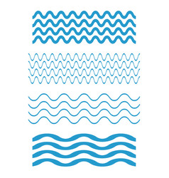 set wave icons water waves on white background vector image