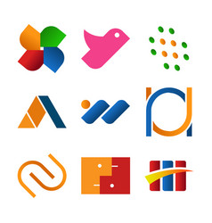 simple abstract corporate symbol design set vector image