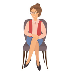 Sitting female person flat vector