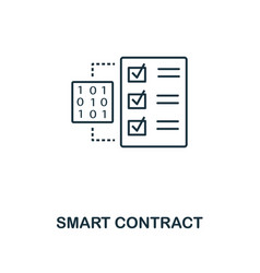 smart contract outline icon monochrome style vector image