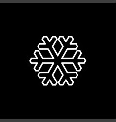 snowflake line icon on black background black vector image