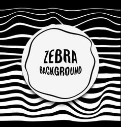 striped background glitch black white zebra skin vector image