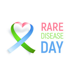 symbol rare disease realistic ribbon heart vector image