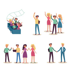 teamwork set with smiling successful people waving vector image