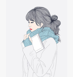 the woman saved her memory bookand winter vector image