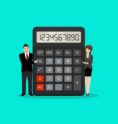 tiny business people with calculator vector image