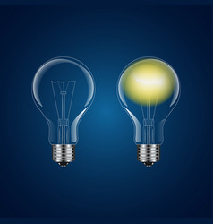 two realistic lightbulb - on and off vector image