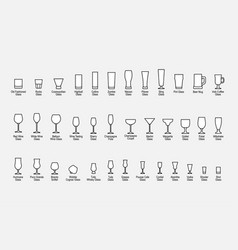 Types glasses with names line icons set vector