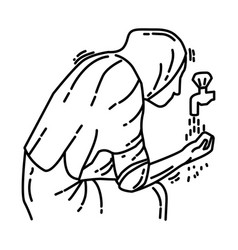 Women wudu icon doodle hand drawn or outline icon vector
