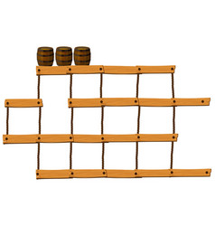 Wooden bars and ropes with barrels on top vector