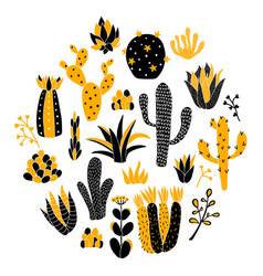 Yellow circle cactus vector