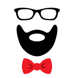 party accessories set - glasses mustache bow vector image
