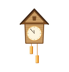 retro vintage style cuckoo clock with two weights vector image
