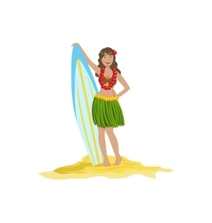 Woman In Classic Hawaiian Outfit Holding Surf vector image vector image