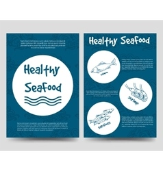 Brochure flyers template with healthy seafood vector image vector image