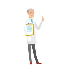 caucasian doctor with clipboard giving thumb up vector image vector image