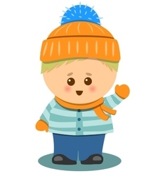 little Cute Boy With Winter Clothes Isolated vector image