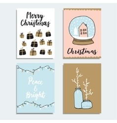Set of Christmas New Year greeting journaling vector image vector image