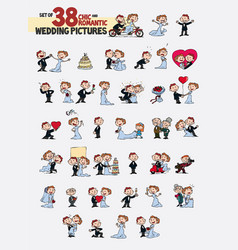 set of thirty-eight characters bride and groom vector image vector image