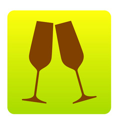 sparkling champagne glasses brown icon at vector image vector image