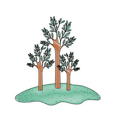 trees set in grassland in colored crayon vector image vector image