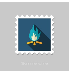 Bonfire flat stamp Summer Vacation vector image vector image