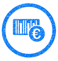 euro barcode rounded icon rubber stamp vector image