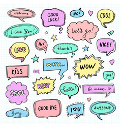 hand drawn set of speech bubbles with words vector image vector image