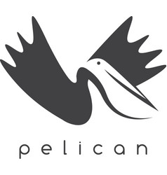 pelican negative space concept design template vector image