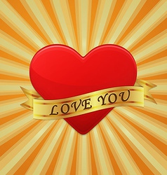 Heart with ribbon and phrase love you concept vector