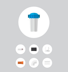 icon flat industry set of pipe drain plastic and vector image