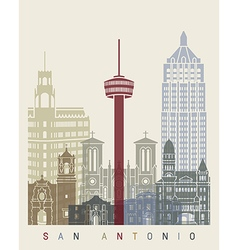 San Antonio skyline poster vector image vector image