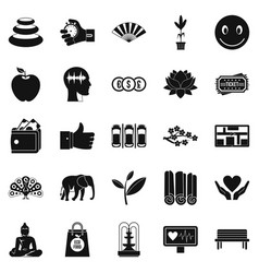 yoga studio icons set simple style vector image