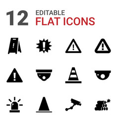 12 caution icons vector