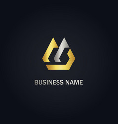abstract shape initial company gold logo vector image