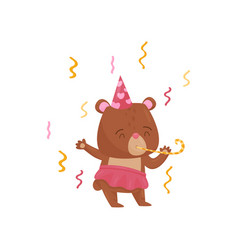 adorable girl bear character in birthday hat vector image