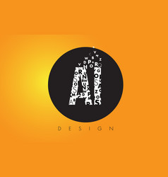 Ai a i logo made of small letters with black vector