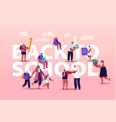 back to school parents with kids and teacher vector image