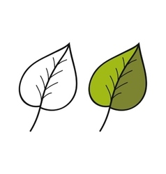 Black and white coloured leaf for coloring book vector