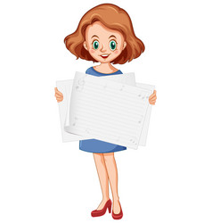 blank sign template with cute girl on white vector image