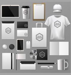 blank stationery set for corporate company vector image
