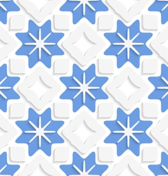 Blue snowflakes and white squares seamless vector