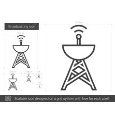 Broadcasting line icon vector