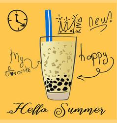 Bubble milk tea pearl milk tea vector
