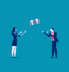 Business person throwing and catching money vector