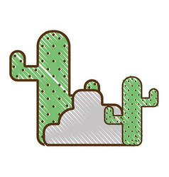 Cactus plan with trees and ecological element vector